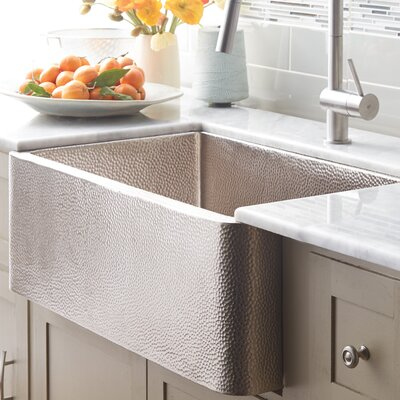 Farmhouse 33 x 22 Copper Kitchen Sink Finish: Brushed Nickel