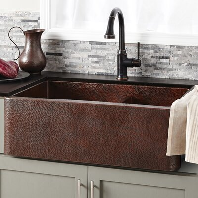 Farmhouse 33 x 22 Duet Copper Kitchen Sink Finish: Antique Copper