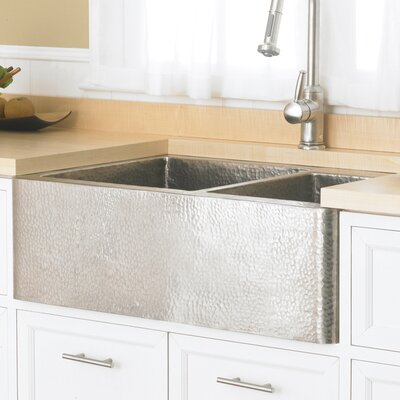 Farmhouse 33 x 22 Duet Copper Kitchen Sink Finish: Brushed Nickel