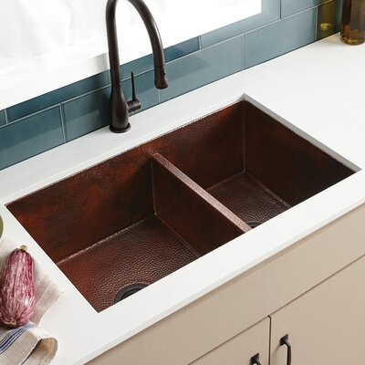 Cocina 33 x 21 Duet Copper Kitchen Sink Finish: Antique Copper