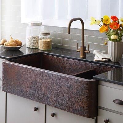 40 x 22 Double Basin Farmhouse Kitchen Sink Finish: Antique Copper