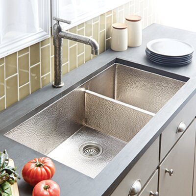 Cocina 40 x 21 Duet Pro Copper Kitchen Sink Finish: Brushed Nickel