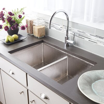 Cocina 33 x 21 Duet Copper Kitchen Sink Finish: Brushed Nickel
