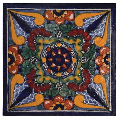 Geraniums 6 x 6 Hand Painted Talavera Tile Size: 6 x 6