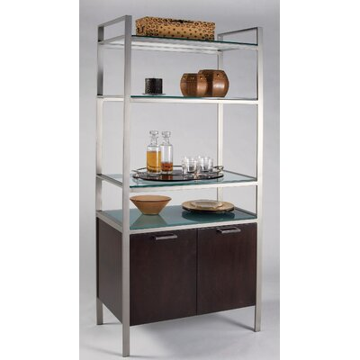 Cascade Contemporary Bakers Rack Metal Finish: Topaz, Wood Veneer Finish: Wenge (as shown)