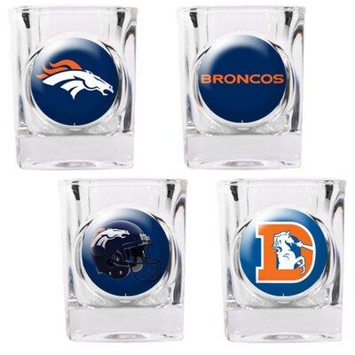 Great American Products 4 Piece NFL Collector's Shot Glass Set - NFL Team: Denver Broncos