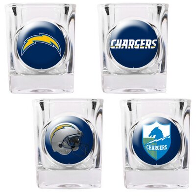 Great American Products 4 Piece NFL Collector's Shot Glass Set - NFL Team: San Diego Chargers