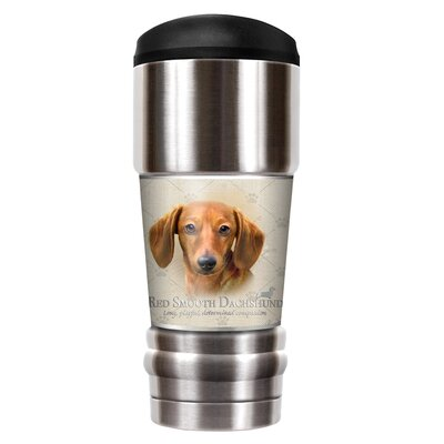 Howard Robinson's Red Smooth Dachshund 18 oz. Stainless Steel Travel Tumbler SMVP25091