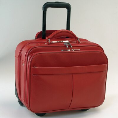 Royce Leather Rolling Laptop Briefcase Travel Bag Color: Red