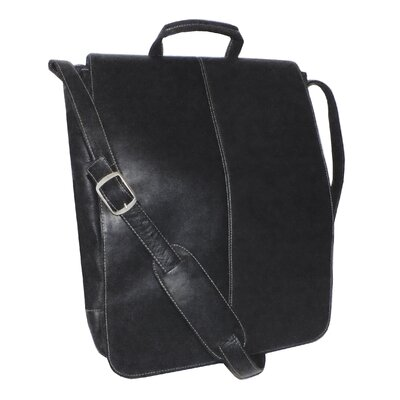 "Genuine Leather Vaquetta 17"" Vertical Laptop Messenger Bag"