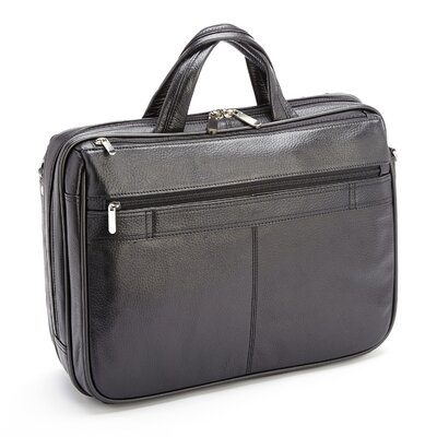 Genuine Leather Laptop Shoulder Bag Briefcase Color: Black