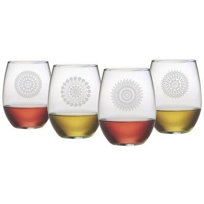 Mandalas Stemless 21 oz. Wine Glass Set WAY-9542-095-4