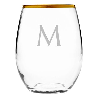 Block Monogram Gold-Rimmed Stemless Wine Glass Letter: L WAY-G9542-813-4 L