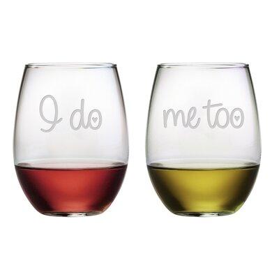 I Do / Me Too Stemless 21 oz. Wine Glass WAY-9542-1580-2