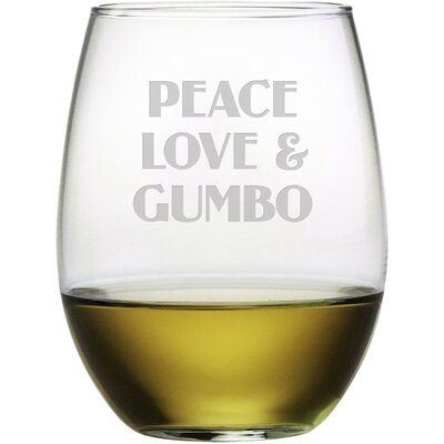 Peace Love Gumbo 21 Oz. Stemless Wine Glass WAY-9542-1564-4