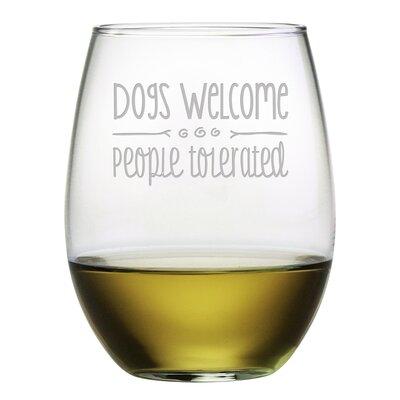 Dogs Welcome 21 oz. Stemless Wine Glass