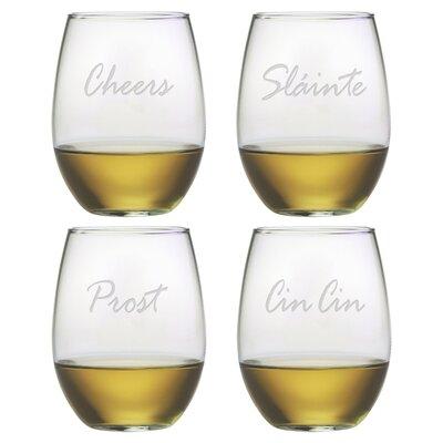 4 Piece Cheers 21 Oz. Stemless Wine Glass Set WAY-9542-898-4