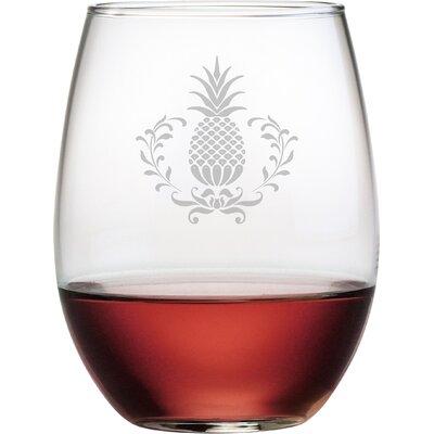 Pineapple Wreath 21 oz. Stemless Wine Glass WAY-9542-1649-4
