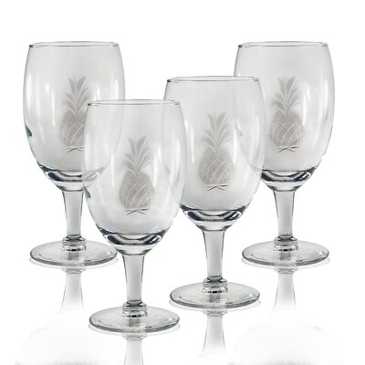 Set Of 4 Footed Iced Tea Glass 16 Oz. Hand Cut Pineapple Pattern