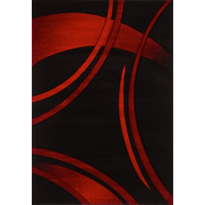 Sofia Black/Red Area Rug Rug Size: 53 x 76