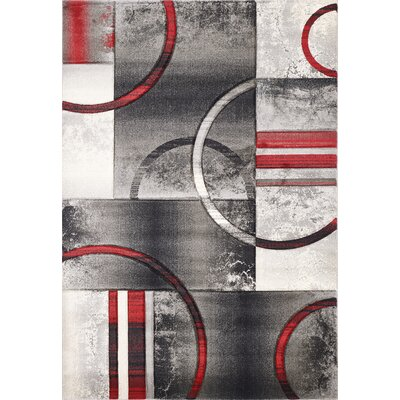Sofia Gray/Red Area Rug Rug Size: 53 x 76