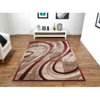 Yingling Beige/Red Area Rug Rug Size: Rectangle 5 x 8