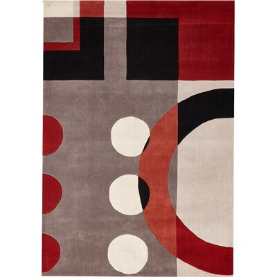 Ezekiel Hand-Tufted Black/Red/Beige Indoor Area Rug