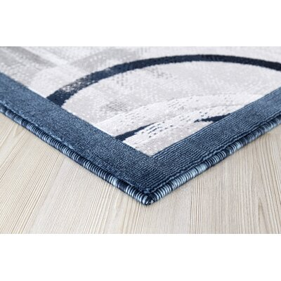 Singley Gray/Dark Blue Area Rug Rug Size: Runner 2 x 8