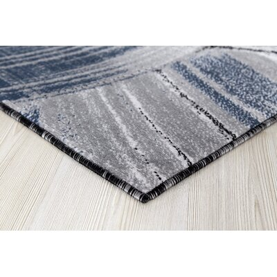 Cowgill Gray/Dark Blue Area Rug Rug Size: Runner 2 x 8