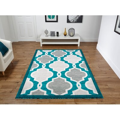 Herzberg Turquoise Area Rug Rug Size: Rectangle 5 x 8