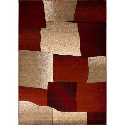 Monaco Beige/Burgundy Area Rug Rug Size: 53 x 76