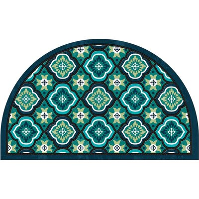 Elfrieda Medallion Tiles 1/2 Round Doormat