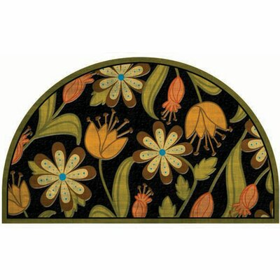 Elfrieda Floral 1/2 Round Doormat