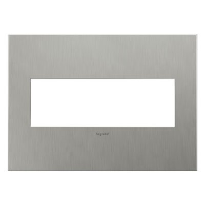 adorne 3-Gang Wall Plate Finish: Brushed Stainless Steel