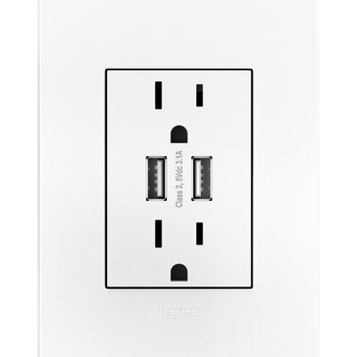 Adorne� Dual USB Combo Outlet Finish: White