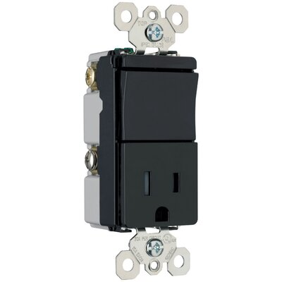 Legrand TradeMaster 120/125V Decorator One Three Way Switch and Single Outlet in Black
