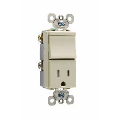 Legrand TradeMaster 120/125V Decorator One Three Way Switch and Single Outlet in Ivory