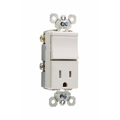 Legrand TradeMaster 120/125V Decorator One Three Way Switch and Single Outlet in Light Almond
