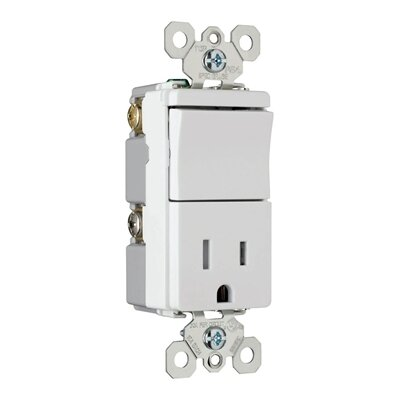 Legrand TradeMaster 120/125V Decorator One Three Way Switch and Single Outlet in White