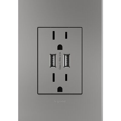 Adorne� Dual USB Combo Outlet Finish: Magnesium