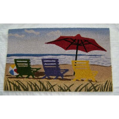 Beach with Umbrella Doormat