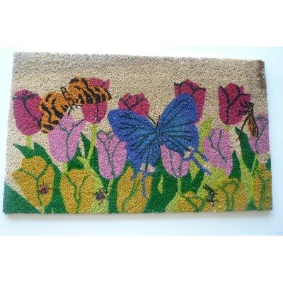 Butterfly on Flowers Doormat