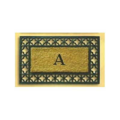 Tuffcor with Border Doormat Rug Size: Rectangle 18 x 30, Letter: V