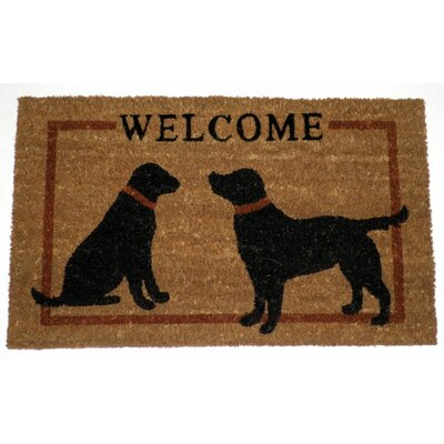 Abbeville Two Dogs Welcome Doormat Mat Size: Rectangle 16 x 26