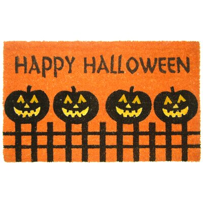 Halloween Pumpkin Fence Doormat