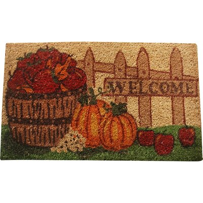 Harvest Pumpkin Fence Welcome Doormat
