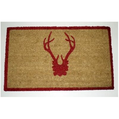 Antler Doormat Rug Size: 16 x 26, Color: Red