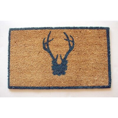 Antler Doormat Rug Size: Rectangle 16 x 26, Color: Blue