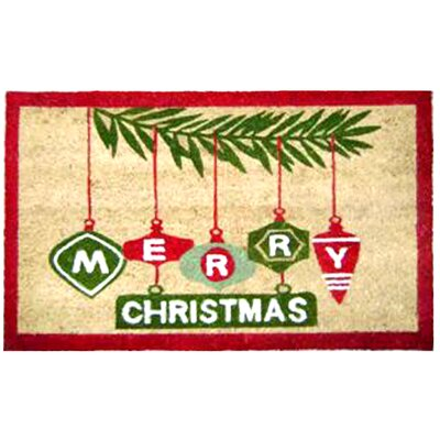 Merry Christmas Branch with Ornaments Doormat