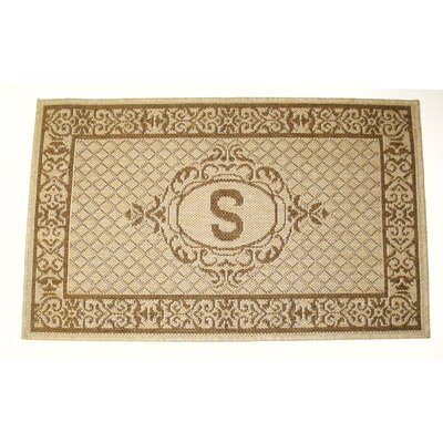 Lexington Monogram Indoor/Outdoor Area Rug Rug Size: Rectangle 27 x 47, Letter: F